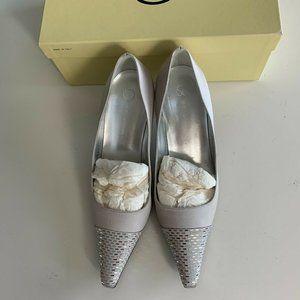 St. John Satin Heels w/ Silver Paillette Sequins